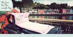 Baby changing nappy bags from Boo Poo. Here is our very first sample bag in Tobermory, Scotland.
