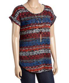 Look at this #zulilyfind! Blue & Red Geometric Scoop Neck Top & Necklace - Plus #zulilyfinds