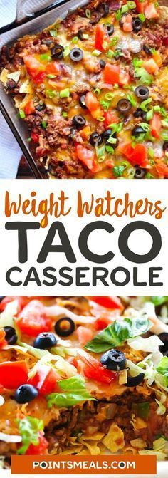 WEIGHT WATCHERS Heathy Taco Casserole #casserole #mexican #taco #dinner #weightwatchers