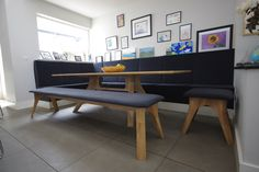 Client in Ireland - Existing built-in bench seat. We supplied the 220cm Veizla table, a 200cm Veizla bench and a 60cm Veizla bench with matching upholstery to complete this dining corner.