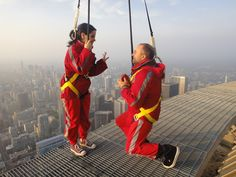 A proposal on the CN Tower Edgewalk is daring, exciting and unforgettable. La Proposition, Proposals, Dares, Cn Tower, Ontario, This Or That Questions, Top, Wedding Proposals, Proposal