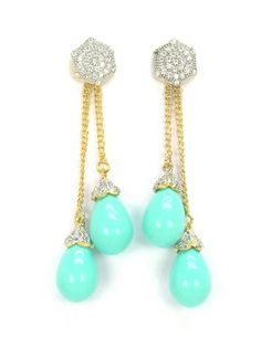 Turquoise cz earrings american diamonds from fusiontrendz.com