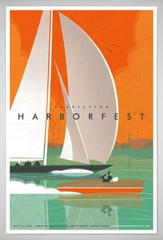 """Charleston HarborFest"", Illustration, Graphic and Design by 'J.Fletcher Design Studio', by Jay Fletcher (b. Illustration Design Graphique, Graphic Illustration, Graphic Design Inspiration, Graphic Design Art, Old Poster, Creation Image, Plakat Design, Graphisches Design, Door Design"