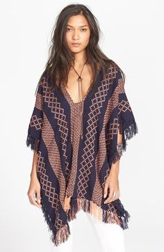 Free People Woven Poncho This poncho has a woven blue and orange pattern and is one size fits most. It has a great fringe detail on edges and has never been worn. in length. Reasonable offers welcome. Love Fashion, Spring Fashion, Fashion Design, Free People Cardigan, Bohemian Mode, Couture, Nordstrom Dresses, Boho Outfits, Indian Outfits