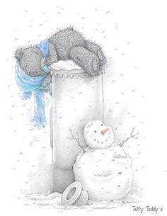 snowman and tatty bears Tatty Teddy, Cute Images, Cute Pictures, Christmas Pictures, Christmas Cards, Xmas, Fizzy Moon, Teddy Bear Images, Moon Bear