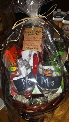 Bridal Shower Or Wedding Gift Date Night Basket Includes Chalk Labeled Wine Gles