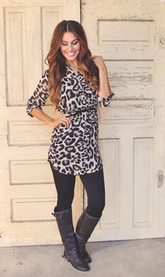 Dottie Couture Boutique - Chiffon Tunic- Leopard, $42.00 (http://www.dottiecouture.com/chiffon-tunic-leopard/)