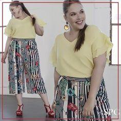 Seguimos de amarillo con este lunes casi primaveral. Pantalones culotte con estampado ideal perfecta para una celebración familiar. #curvygirl #honormycurves #beyourself #lovely #plussize #tallasgrandes