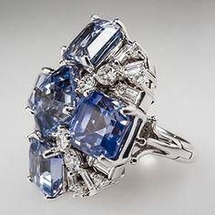 Blue Sapphire & Diamond Cluster Cocktail Ring 14K White Gold - EraGem