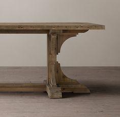 20th C. Reclaimed Pine Trestle Rectangular Dining Table--Restoration Hardware