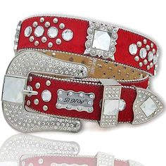 Firecut CLEAR Crystal Rhinestone Red Cowhide Belt