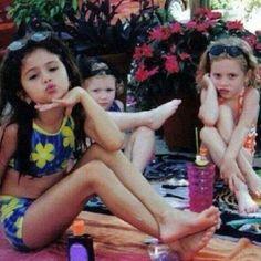 on in the flower swim suit is selena gomez