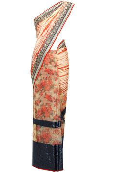 Red tie dye and biege floral print navy cutwork saree with blouse piece available only at Pernia's Pop Up Shop..#perniaspopupshop #shopnow #newcollection l #festive #wedding #Vikramphadnisa#clothing