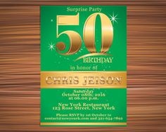 GOLD and Green INVITATION Surprise 50th by UniqueGoldenCards Rose Street, York Restaurants, 50th Birthday, Birthday Invitations, Rsvp, Green, Party, Gold, 50 Year Anniversary