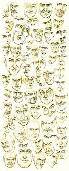Muchoas caras de hombre dibujadas...