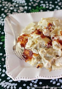 Baked Artichoke Chicken Pasta:  9x13 pan, cooked pasta, sauteed chunks of chicken breast, artichoke hearts, white sauce with two cheeses.
