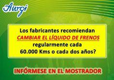 ¿Sabe cada cuantos kilómetros tiene que cambiar el líquido de frenos? Más información en www.aurgi.com/