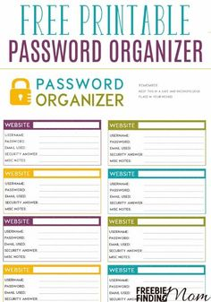 Need help remembering all your online passwords? Instead of using common passwords or the same password for several accounts, safeguard yourself by adding variation and recording them in this free printable password organizer.