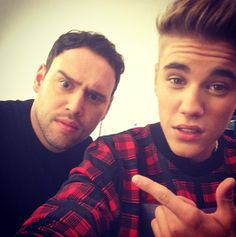Justin bieber and scooter broun slefie❤️