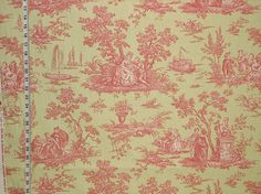 Pink green French toile fabric- from Brick House Fabric: for girls chair