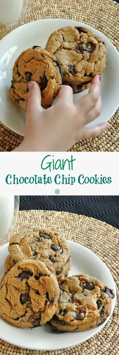 Giant Chocolate Chip Cookies are always a favorite and these giant cookies even top that list. Big and chewy and buttery and chocolaty. How fun is that!
