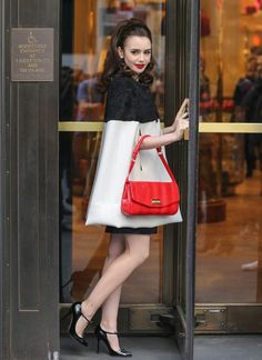 Lily Collins Bergdorf Goodman New York City Emilio Pucci pre fall 2013 cape ... what's not to <3 in this look??