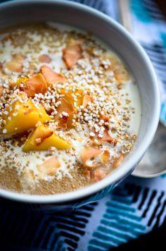 Amaranth Porridge with Mangos and Toasted Coconut