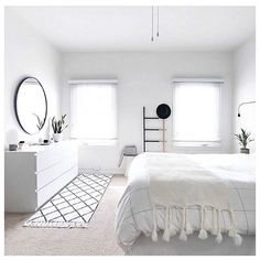 White on white bedroom styling!