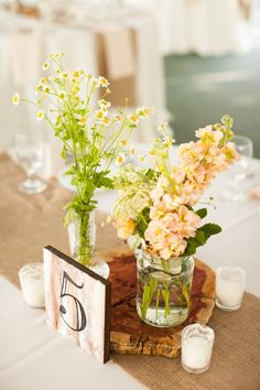 Sweet Centerpiece. Love the table numbers! {image by Andi Grant via Glamour and Grace}