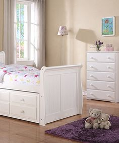 White Sleigh Captains Twin Three-piece Bedroom Set