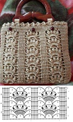 Crochet bags with stitch chart gráfico Facing The Sea-- 10 crochet bag models and graphics Crochet Motifs, Crochet Tote, Crochet Stitches Patterns, Crochet Handbags, Crochet Purses, Crochet Chart, Crochet Designs, Easy Crochet, Knitting Patterns