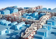 edicionesarq:    Foreclosed: Rehousing the American Dream'.  'Foreclosed' se lleva a cabo desde el 15 de febrero al 30 de julio en el MoMA. La exposición busca plantear nuevas posibilidades arquitectónicas para ciudades y suburbios en EE UU. Se presentan proyectos de MOS, Visible Weather, Studio Gang Architects, WORKac y Zago Architecture.  Fotografía por James Ewing del proyecto realizado por MOS.  [+ info]