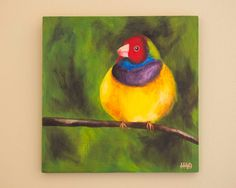 Original Bird Painting by HeatherAnnOrlando on Etsy, $56.00 #art #oil #painting #bird #colorful #finch #animal