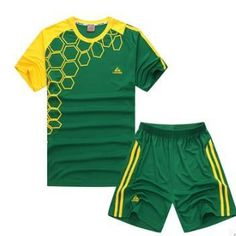 Youth Soccer Jersey & Shorts Set Short Sleeved (Green & Yellow)