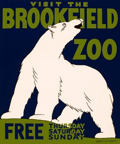 WPA poster, Visit the Brookfield Zoo, white polar bear