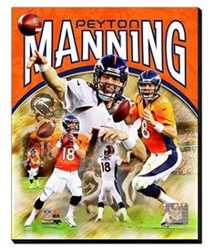 Peyton Manning Canvas Framed Over With 2 Inches Stretcher Bars-Ready To Hang- Awesome & Beautiful