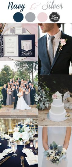 elegant navy and silver modern wedding color inspiration