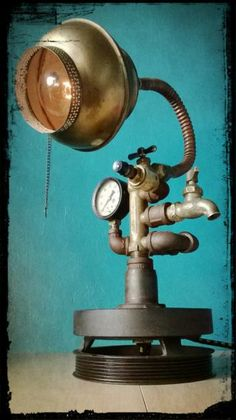 Steampunk Upcycled Industrial Engine Pulley Assemblage Lamp Man Cave by RetroSteamWorks for $234.95