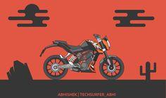 Vector Art of KTM Duke 200. #techsurfer_abhi #techsurfer15 #abhi #duke #vectorart #ktmduke200
