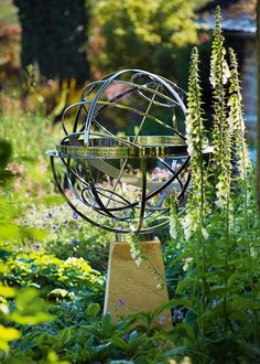 Stainless steel armillary sphere sundial / green home