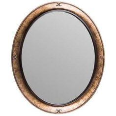 Large 24  Antique Gold Oval Polystone Mirror with Bevel Home Wall Decor On Sale.