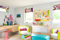Do you like the look of white or black and white bedding with lots of pops of neon?