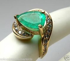 Gorgeous Colombian Emerald and Diamond Ring by JRColombianEmeralds, $2100.00