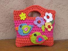 Crochet Purses Design Girls Bag / Purse with Birds and Flowers Crochet by EvasStudio / meas. x / easy pattern / CROCHET pattern / for your little diva - Bag Crochet, Crochet Shell Stitch, Crochet Girls, Crochet Handbags, Crochet Purses, Crochet Slippers, Love Crochet, Crochet For Kids, Crochet Crafts