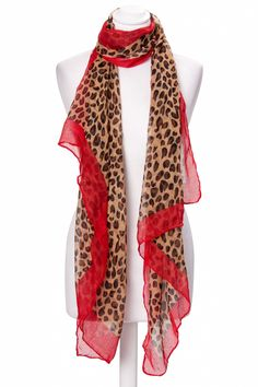 From Paris with Love! - Brown leopard scarf with red edge