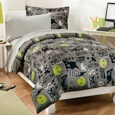 My Room Extreme Skateboarding Boys Comforter Set With Sheets, Gray, Full