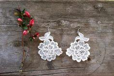 Shimmery Lace Earrings  $22.00 USD