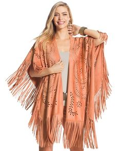Create the right kind of drama with our Willow Cutout Fringe wrap