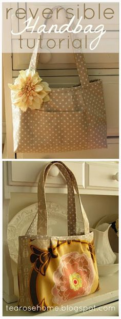 Reversible Handbag Tutorial by Tea Rose Home...two bags in one!  so many great sewing projects, Tshirts redo as well. a must do!