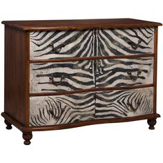 Zebra Motif Dresser (2,515 CAD) ❤ liked on Polyvore featuring home, furniture, storage & shelves, dressers, dresser, cabinets, shelves, hardware furniture, handpainted furniture and drawer furniture